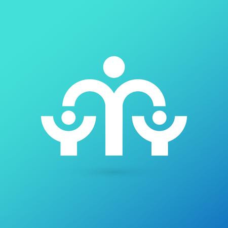 Illustration design of logotype business family symbol. Vector happy man web icon. Stock Illustratie