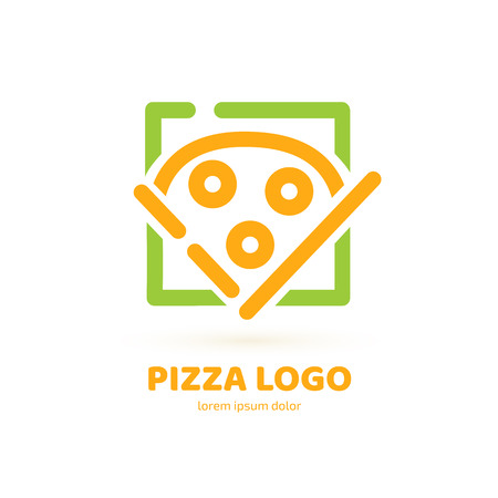 Illustration design of logotype pizza symbol. Vector pizza slice with cheese, salami, mushrooms, tomato and pepperoni. 일러스트