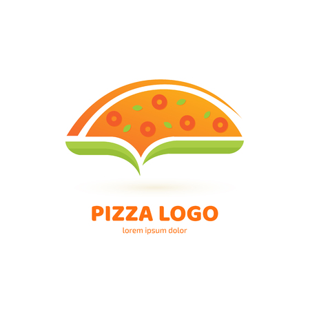 Illustration design of logotype pizza symbol. Vector pizza slice with cheese, salami, mushrooms, tomato and pepperoni. 向量圖像