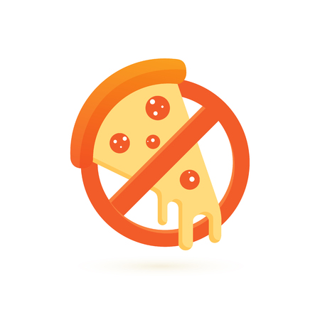 Illustration design of logotype anti pizza symbol. Vector pizza slice with cheese, salami, mushrooms, tomato and pepperoni.