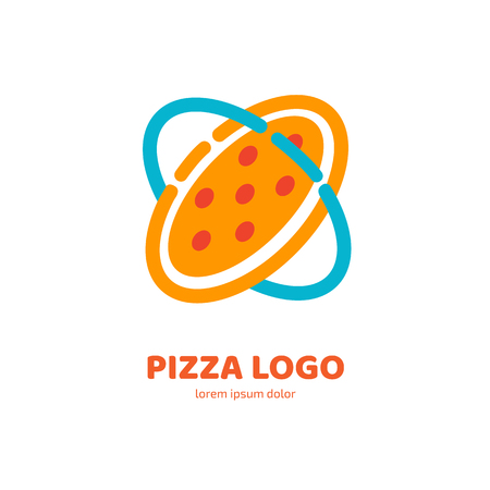 Illustration design of logotype pizza symbol. Vector pizza slice with cheese, salami, mushrooms, tomato and pepperoni. Vettoriali
