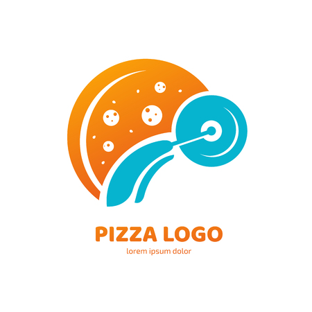 Illustration design of logotype pizza symbol. Vector pizza slice with cheese, salami, mushrooms, tomato and pepperoni. Иллюстрация