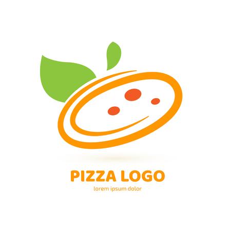 Illustration design of logotype pizza symbol. Vector pizza slice with cheese, salami, mushrooms, tomato and pepperoni. Illusztráció