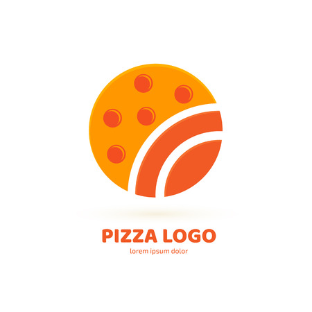 Illustration design of logotype pizza symbol. Vector pizza slice with cheese, salami, mushrooms, tomato and pepperoni. 免版税图像 - 101751110