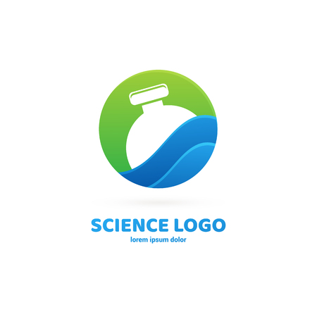 Vector design logo laboratory. Molecule pictogram, chemistry abstract icon Illustration