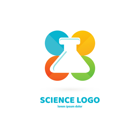 Vector design logo laboratory. Molecule pictogram, chemistry abstract icon Vettoriali