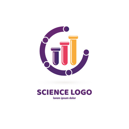 Vector design logo laboratory. Molecule pictogram, chemistry abstract icon Ilustração