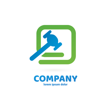 Vector design logo hammer and repair. Court pictogram, lawyer abstract icon