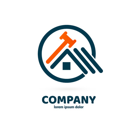 Illustration design of logotype business spanner symbol. Vector web work tool and house icon.