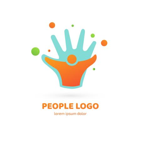 Illustration design of logotype business team symbol. Vector happy man web icon.