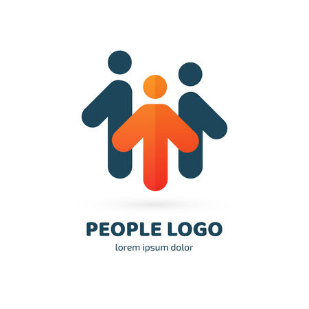 Illustration design of logotype business team symbol. Vector happy man web icon.