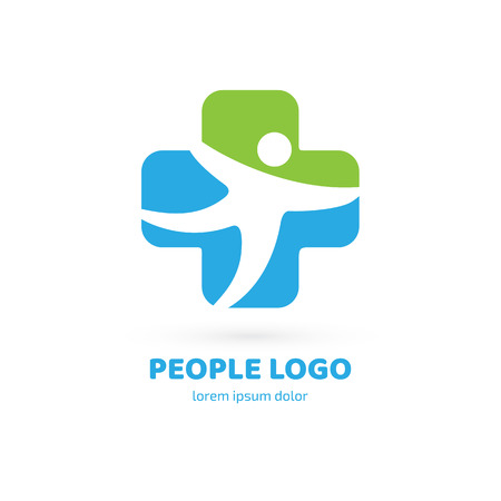 Illustration design of logotype business family clinic symbol. Vector man and cross web icon.  イラスト・ベクター素材