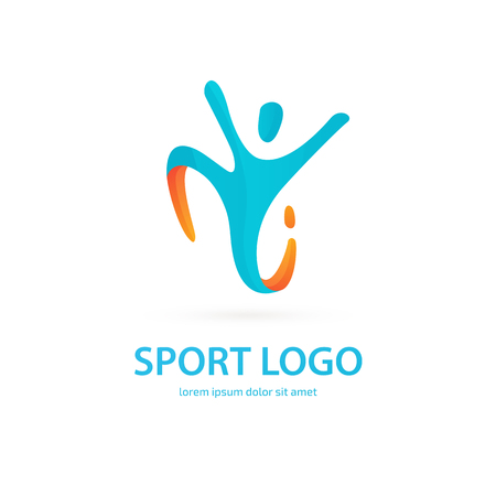 Vector design logo Sport silhouette. Man pictogram, active lifestyle abstract icon