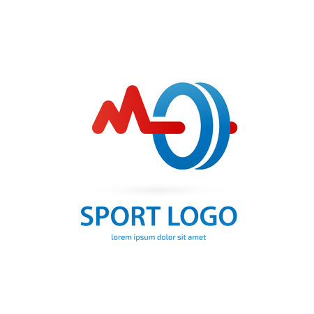 Vector design logo Sport sign. Dumbbell pictogram, active lifestyle abstract icon Illustration