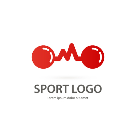 Vector design logo Sport sign. Dumbbell pictogram, active lifestyle abstract icon Vettoriali