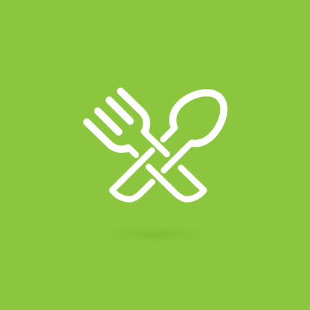 Vector design logo fork and spoon. Food pictogram, cooking abstract icon