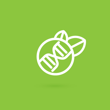 Vector design icon apple and dna. Gmo product pictogram.