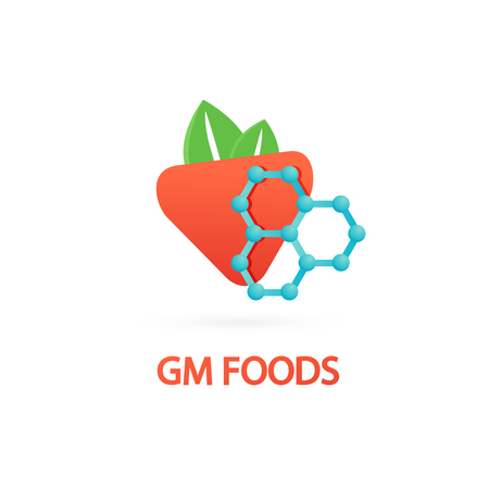 Vector design icon strawberry and dna. Gmo product pictogram.