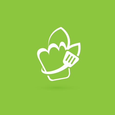 Vector design cooking logo. Food pictogram, cooking abstract icon Иллюстрация