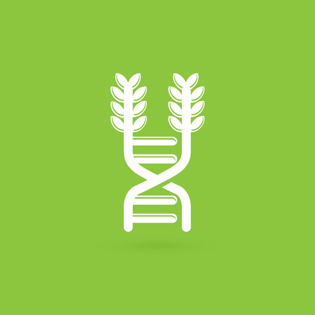 Vector design icon ear and dna. Gmo product pictogram.
