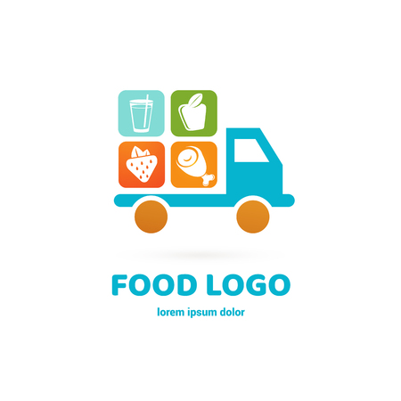 Vector design logo food delivery. Food pictogram, car abstract icon