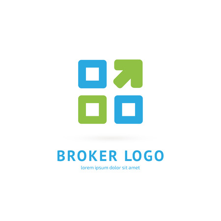 Illustration design of logotype bidding business symbol. Arrow pictogram.