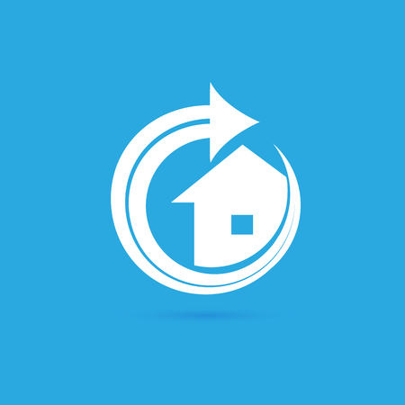 Illustration design of logotype house sale agency . Arrow and building pictogram.