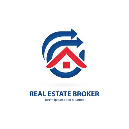 Conception d'illustration de l'agence de vente de maison logotype. Flèche et pictogramme de construction.