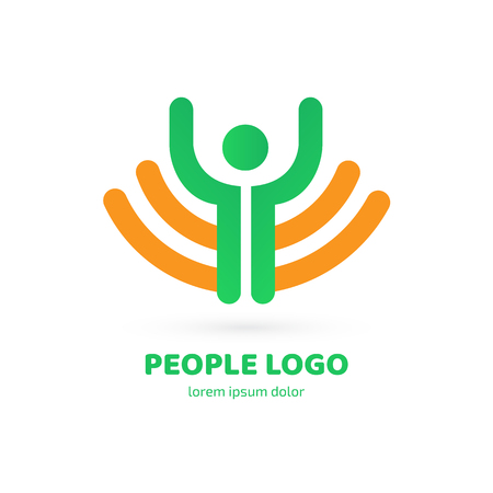 People icon. Fitness sport symbol. Positive insignia. Health healthcare concept Ilustrace
