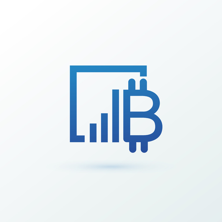 Vector design finance and e-commerce. Bitcoin pictogram, virtual money abstract icon