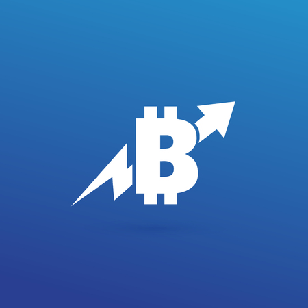 Vector design logo finance and e-commerce. Bitcoin pictogram, virtual money abstract icon