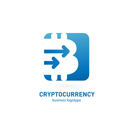 Vector design logo finance and e-commerce. Bitcoin pictogram, virtual money abstract icon