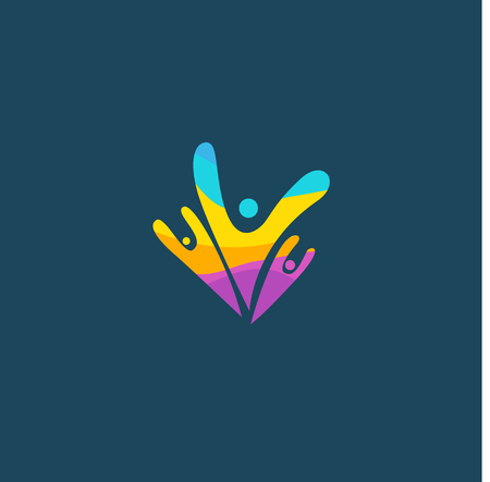Happy motivated people in colorful  icon. Vectores