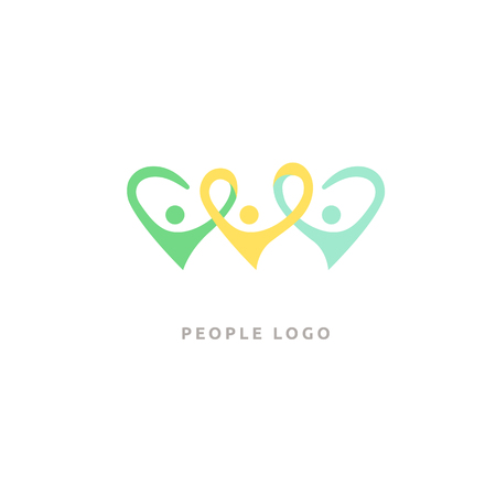Vector illustration, Graphic Design Editable Design. Happy motivated people in colorful logo. Team web icon.