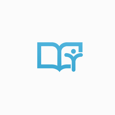 Vector illustration, Graphic Design Editable Design. Man with a book web icon.