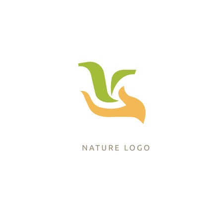 Vector illustration, Graphic Design Editable Design. Happy people with leafl logo. Fitness, sport web icon. Çizim