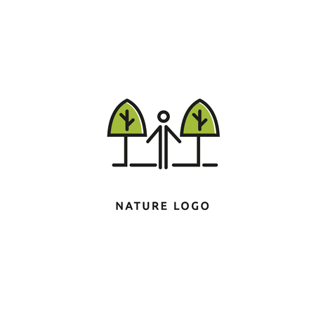 Vector illustration, Graphic Design Editable Design. Happy people with leafl logo. Fitness, sport web icon. 矢量图像