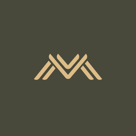Letter M vector logo. Vintage Insignia and Logotype. Business sign, identity, label, badge initials