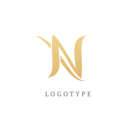 Letter N vector logo. Vintage Insignia and Logotype. Business sign, identity, label, badge initials Ilustrace