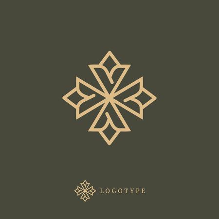 Emblema spa de belleza de lujo, cosméticos, joyería, hotel, restaurante Marco de contorno elegante de boda Ilustración de vector
