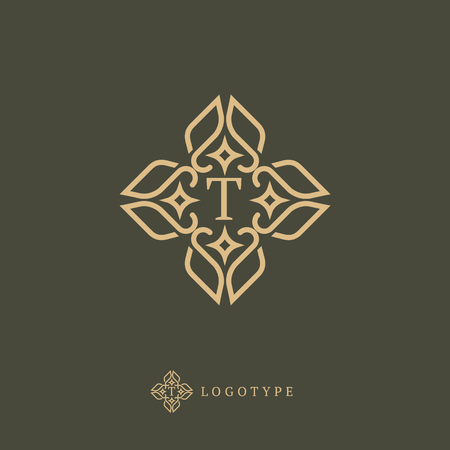 Letter T vector logo. Vintage Insignia and Logotype. Business sign, identity, label, badge of restaurant.