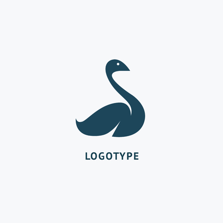 Swan icon. Zoo, pet shop, farm, bird feather, wild nature vector flat style logotype modern.