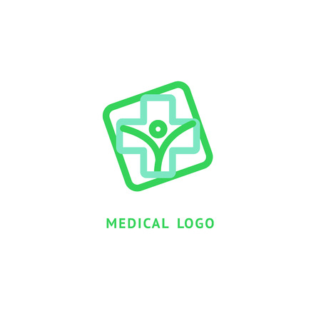 Illustration design of business logotype clinic. Vector people and cross web icon. Standard-Bild
