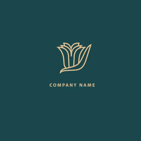 Diseño abstracto del vector del icono del logotipo de la tienda de flores. Cosméticos, Spa, Salón de Belleza Decoración Boutique vector logo. Ilustración vectorial, diseño gráfico, diseño editable. Logotipo floral. Icono de boda de flores