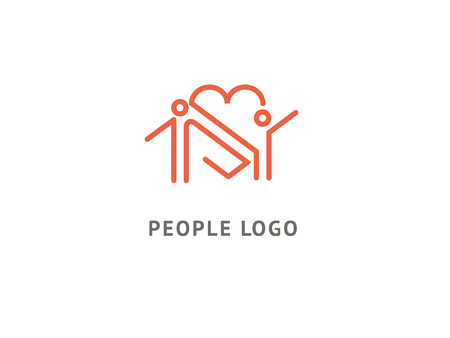 Abstract community logo icon vector design. Care, medicine, health, social work vector logo. Health care kid in heart shape. Family clinic colorful logo. Man with heart web icon. 일러스트
