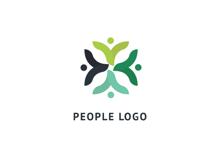 Abstract community logo icon vector design. Creative agency, social work, teamwork, business, advertising vector logo. Editable Design. Happy motivated people in colorful logo. Team web icon