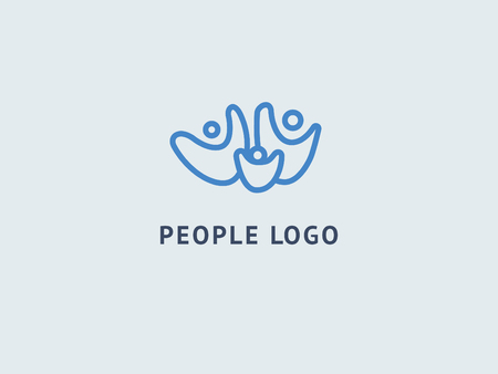 Abstract community logo icon vector design. Creative agency, social work, teamwork, business, advertising vector logo. Editable Design. Happy motivated people in colorful logo. Team web icon Banco de Imagens - 116299995