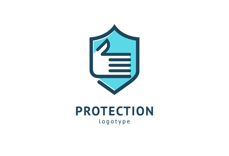 Shield icon. Vector flat style illustration Abstract business security Agency logo template. Logo concept of antivirus, protection, insurance, privacy, guard Logó