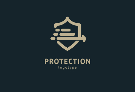 Shield icon. Vector flat style illustration Abstract business security Agency logo template. Logo concept of antivirus, protection, insurance, privacy, guard 免版税图像 - 122369728