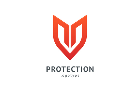 Shield icon. Vector flat style illustration Abstract business security Agency logo template. Logo concept of antivirus, protection, insurance, privacy, guard 免版税图像 - 122369768
